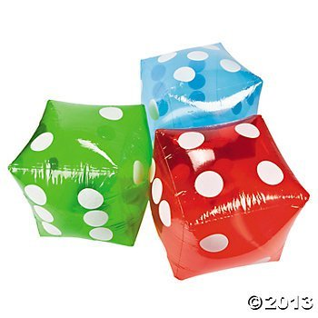 "Large Inflatable Dice - 16"" Red - 1 Piece"