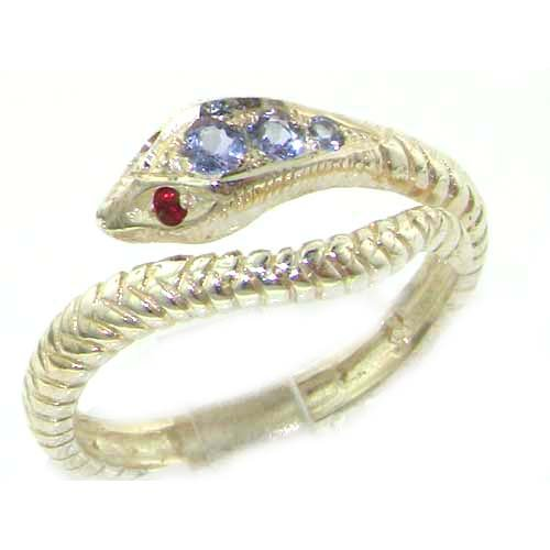Fabulous Solid White Gold Natural Tanzanite & Ruby Detailed Snake Ring - Size 6.25 - Finger Sizes 5 to 12 Available