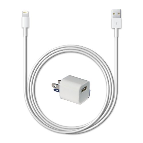 Lifestyle Accessory brand iPhone 5 Wall Charger set - Includes Universal 5 Watt Wall Power Adapter + 8 pin Lightning to USB 2.0 Charging Data Sync Cable for iPhone 5, iPhone 5G, iPod Touch 5, iPod Nano 7, iPad 4, and iPad Mini