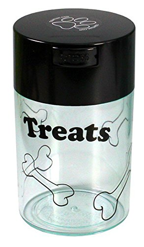 pawvac-6-ounce-vacuum-sealed-pet-food-storage-container-black-cap-clear-body-black-treats