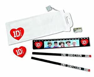 1D One Direction Stationery Set Clear Pencil Case Ruler Rubber 100% Official NEW