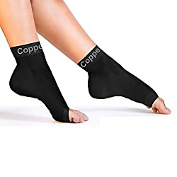 Copper Compression Recovery Foot Sleeves / Plantar Fasciitis Support Socks, GUARANTEED Highest Copper Content! For Relief Of Heel Spurs, Arch Pain, Foot Swelling & Ankle Injuries (1 PAIR)