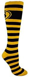 MOXY Socks Black and Yellow Striped Kettlebell Knee-High