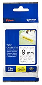 Brother Tape, Black on Clear Extra Strength, 9mm (TZeS121)