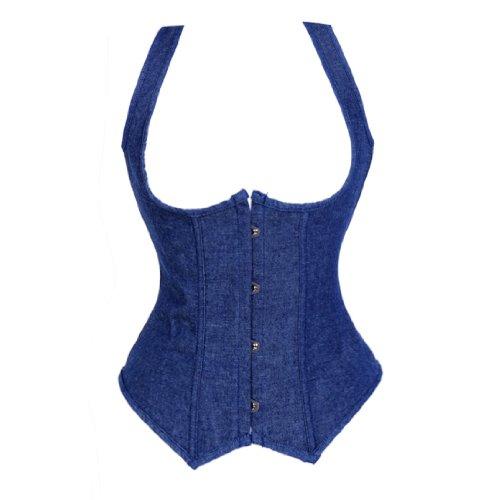 Bslingerie Womens Blue Denim Openbust Straps Boned Bustier Corset Size: UK 14-16 (XL)