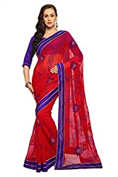 Anvi Deep red chiffon designer saree with unstitched blouse (1555)