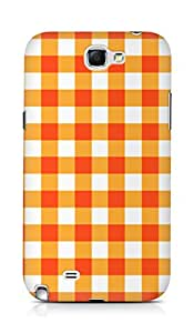 Amez designer printed 3d premium high quality back case cover for Samsung Galaxy Note 2 N7100 (Orange n White Pattern1)