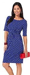 Connected Apparel Polka Dot Twist Front Dress