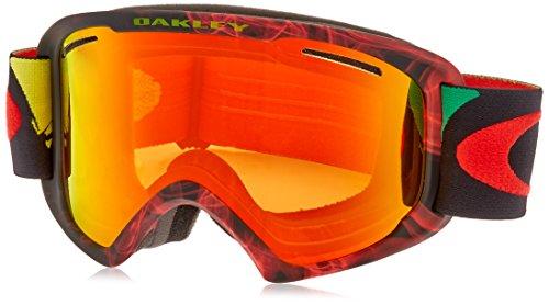 Oakley O2 Maschera da sci/snowboard Burned Out Rasta/Fire Irid, Taglia XL