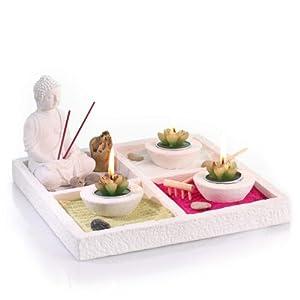 coffret jardin zen bouddha sur un plateau avec 3 photophores 3 bougies 2 b tons d 39 encens. Black Bedroom Furniture Sets. Home Design Ideas