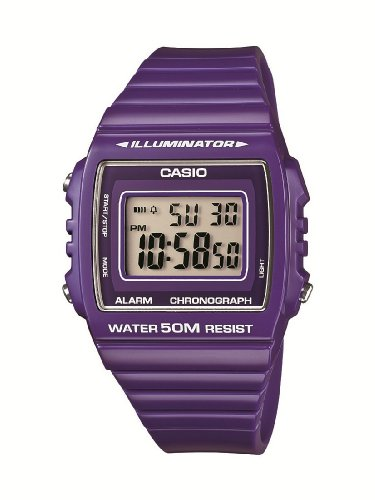 Casio Collection W-215H-6AVEF Orologio Digitale da Polso, Unisex, Resina, Viola