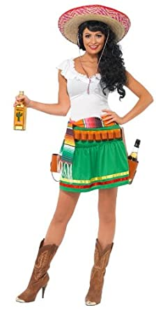 Smiffy's Women's Tequila Shooter Girl Dress, Multi Coloured, Extra Small