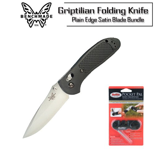 Benchmade Knife 551 Griptilian Pardue Plain Edge Satin Blade Black Handle Folding Knife With Smith's PP1 Pocket Pal Sharpener