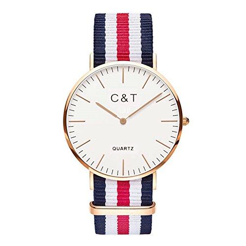 C + T Watch C2T Orologio con cinturino in Nylon Nato bianco, rosso e blu marine, cassa dorata