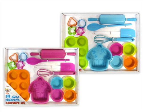 14 Piece Childrens Bakeware Set available in Pink or Blue