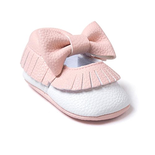 GBSELL Baby Girl Toddler Bowknot Tassels Shoes Soft Sole Sneakers Casual Shoes (pink, 0~6 Month)