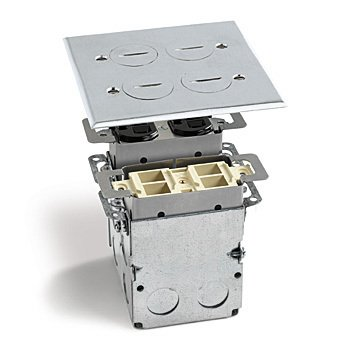 Lew Electric Swb-4-Pq-A Floor Box, Quad Box W/Duplex Receptacle & 4 Communications/Data Ports - Aluminum