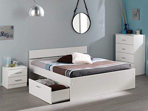 Jugendzimmer Inaco 113 weiß Schlafzimmer 3-teilig, Bett 140×200 + Kommode + Nachttisch