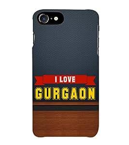 HiFi Designer Phone Back Case Cover Apple iPhone 7 :: Apple iPhone7 ( I love Gurgaon Blue Wood Look )