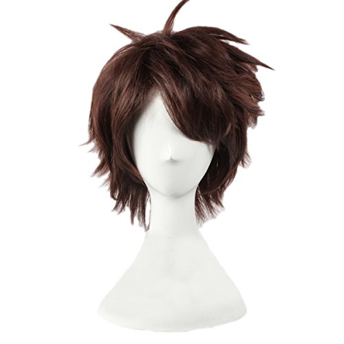 Angelaicos Men's Anime Party Halloween Costume Cosplay Wigs Short Brown