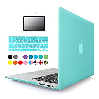 7. IBenzer® - 3 in 1 Turquoise Soft-Touch Plastic Hard Case Cover & Keyboard Cover & screen protector