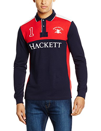 HACKETT Army Pieced Hkt, Polo Uomo, Multicolore (Red/Navy), XXL