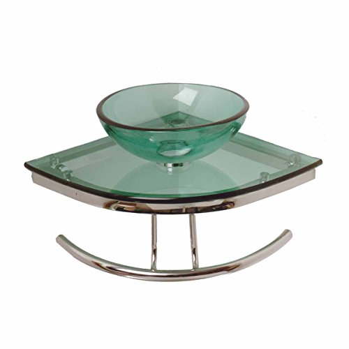 "Buy Discount Wall Mount Corner Vessel Sink Green Tempered Glass With Drain ""Zephyr"" Easy C..."