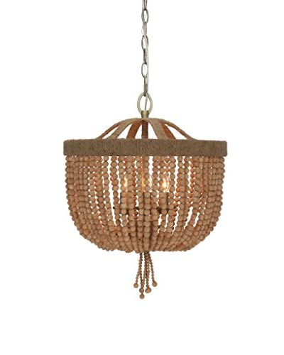 Gold Coast Lighting Eva 3-Light Jute Thread Bead Chandelier, Burnished Silver