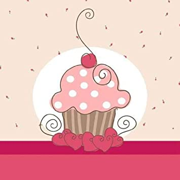 Vintage Cupcake Wallpaper Card With