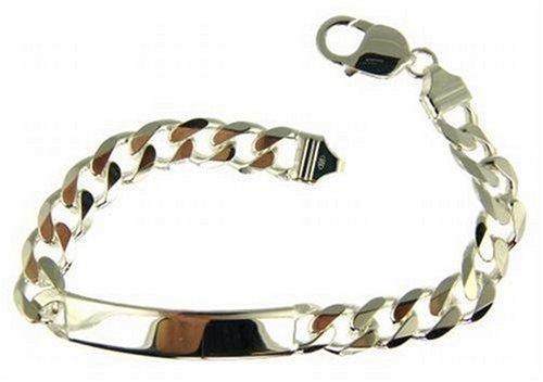 Men's ID Curb Bracelet, Silver, 22cm Length, Model SC305/8.5
