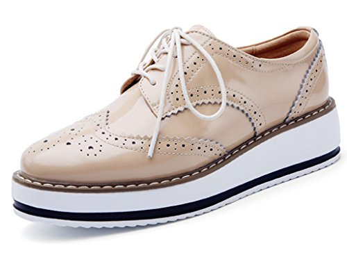 DADAWEN Women's Platform Lace-Up Wingtips Square Toe Oxfords Shoe Apricot US Size 8