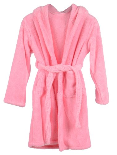 Simplicity Microfiber Robe Kids Terry Robe, Light Pink, S front-1001057