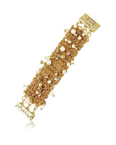 Saachi Gold-Tone Crystal & Simulated Pearl Crochet Bracelet