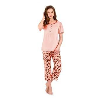 Stillpyjama Umstandsmode Umstandspyjama Set: Kurzarm Stillshirt & 3/4 Schlafhose / Made in EU, Farbe: Orange, Größe: 42