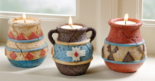 Collections Etc - Southwest Adobe Pottery Tealight Candle Holders