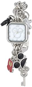 Disney Women's MK2059 Mickey Mouse Mother-of-Pearl Dial Charm Bracelet Watch