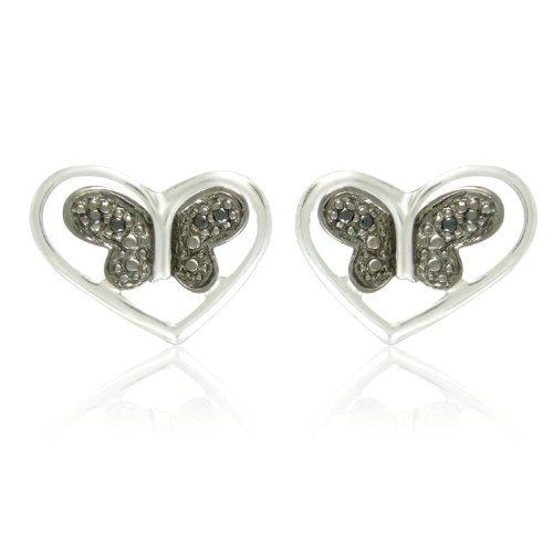 Sterling Silver Round Shaped Black Diamond Butterfly Earrings (0.04 cttw, I-J Color, I1-I2 Clarity)