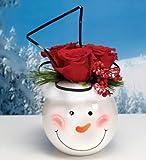 "5"" Decorative White Smiling Winter Snowman Face Round Bowl Christmas Planter"