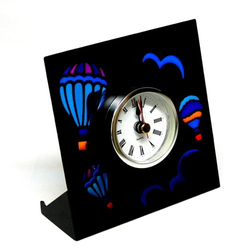 black hot air balloon metal table or shelf clock 475quot x 4