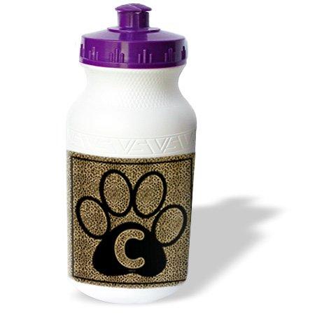 Wb_25936_1 Doreen Erhardt Monogrammed Collection - Letter C Standard Cheetah Print Cat Paw - Water Bottles