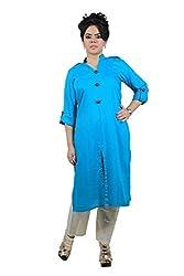Kittus Fashion House Women's Poly Rayon Straight Kurti (Kskrt-1089D_Blue_Small)