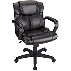 Brenton Studio Briessa Mid-Back Vinyl Chair - Black