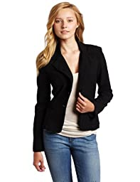 A. Byer Juniors Long Sleeve Button Welt Jacket, Black, Medium