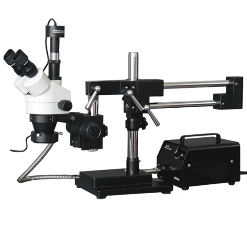 Amscope Sm-4Tz-For-10Mb Digital Professional Trinocular Stereo Zoom Microscope, Wh10X Eyepieces, 3.5X-90X Magnification, 0.7X-4.5X Zoom Objective, Fiber-Optic Ring Light, Double-Arm Boom Stand, 110V-120V, Includes 0.5X And 2.0X Barlow Lenses And 10Mp Came