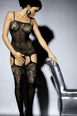New Sexy Women's Black Floral Lace Body Stockings With Attached Garter Catsuit Bodysuit Lingerie Wear One Size 8 10 12 14