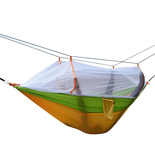 Ezyoutdoor 98x53 inch Lightweight Double Hammock With Mosquito Net Nylon Fabric Parachute Bed for Camping Hiking Hunting Backpacking Travel (Green+Yellow) (Tie Dye Tarp compare prices)
