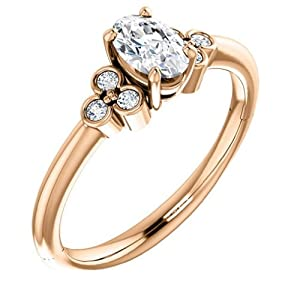 14K Rose Gold Oval Cut Diamond Engagement Ring