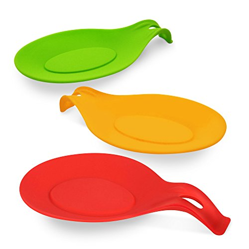 Silicone Spoon Rest - 3-Pack - Non-Stick, Heat Resistant, Microwave & Dishwasher-Safe