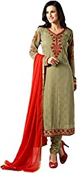 Shenoa Women's Faux Georgette Unstitched Dress Material(9505, Brown)