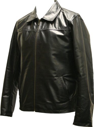 Mens Black Leather Retro Zipped Blouson Jacket - Fargo by Leatherbox - Size L